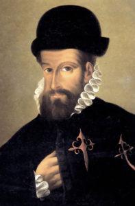 Francisco Pizarro, der Eroberer des Inkareichs in Peru. Ölgemälde eines unbekannten Meisters (um 1540)