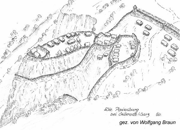 Rekonstruktion der Pipinsburg bei Osterode. Gezeichnet von Wolfgang Braun.