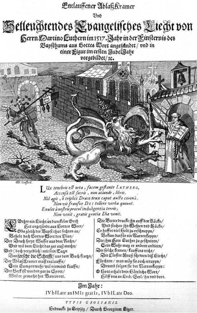 Flugblatt mit Luthers Thesen