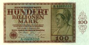 Geldschein in der Inflationszeit, Hundert Billionen Mark, 1924